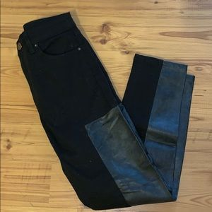 Pleather Accent Cropped Pants